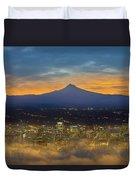 Foggy Portland City Downtown At Dawn Duvet Cover