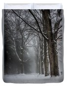 Foggy Vermont Winter Path Duvet Cover