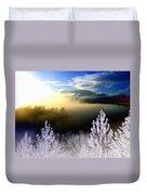 Foggy Winter Sunset Duvet Cover