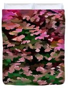 Foliage Abstract In Pink, Peach And Green Duvet Cover