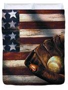 Folk Art American Flag And Baseball Mitt Duvet Cover