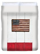 Folk Art American Flag On Wooden Wall Duvet Cover