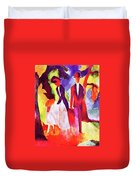 Folks At The Blue Sea By August Macke Duvet Cover