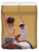 Follow The Leader - Horseback Riding Lesson Painting Duvet Cover