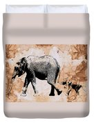 Following Mum - Mother And Baby Elephant Animal Decorative Poster  4 - By Diana Van Duvet Cover