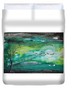 Following The Moon Duvet Cover