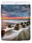 Folly Beach Charleston Sc South Carolina Sunrise Seascape Duvet Cover