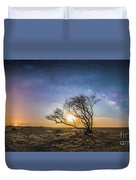 Folly Beach Milky Way Panorama Duvet Cover