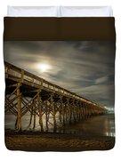 Folly Beach Pier At Full Moon Duvet Cover