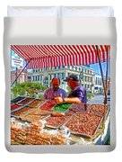 Food Booth In Valparaiso Square-chile Duvet Cover