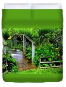 Foot Bridge And Fence Duvet Cover