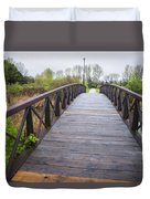 Foot Bridge In Park Duvet Cover