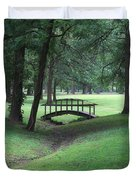 Foot Bridge In The Park Duvet Cover