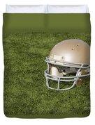 Football Helmet On Artificial Turf Duvet Cover