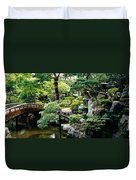 Footbridge Across A Pond, Kyoto Duvet Cover
