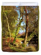 Footpath At The Edge Of Lantys Tarn In The Lake District Cumbria Duvet Cover