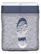 Footprint In Snow Duvet Cover