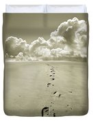 Footprints In Sand Duvet Cover
