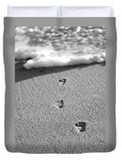 Footprints In The Sand Black And White Duvet Cover