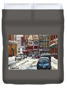 For Sale Original Paintings Montreal Petits Formats A Vendre Downtown Montreal Rue Stanley Cspandau  Duvet Cover
