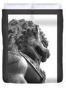 Forbidden City Lion - Black And White Duvet Cover