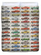 Ford Mustang Timeline History 50 Years Duvet Cover