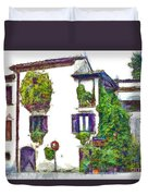 Foreshortening Of House Covered With Climbing Plants Duvet Cover