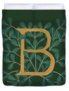 Forest Leaves Letter B Duvet Cover