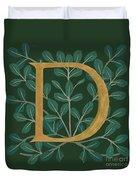 Forest Leaves Letter D Duvet Cover