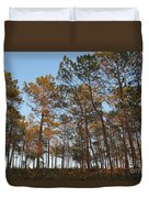 Forest Pine Trees At Sunset Duvet Cover