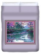 Forest River Scene. L B With Decorative Ornate Printed Frame. Duvet Cover