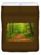 Forest Road In The Fall Duvet Cover