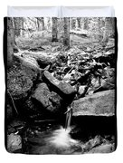 Forest Stream In Black And White Duvet Cover
