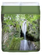 Forest With Waterfall Duvet Cover