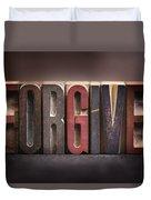 Forgive - Antique Letterpress Letters Duvet Cover