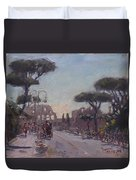Fori Romani - Street To Colosseo Duvet Cover
