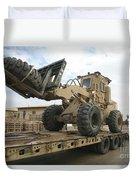 Forklift Is Unloaded Off Of A Logistics Duvet Cover by Stocktrek Images