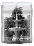 Forsyth Park Fountain Black And White With Vignette Duvet Cover