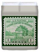 Fort Dearborn Postage Stamp Duvet Cover