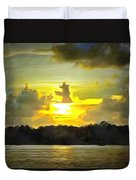 Fort Island Trail Sunset Duvet Cover