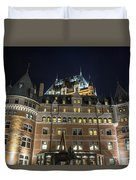 Fort  Of Quebec City At Night Duvet Cover