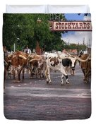 Fort Worth Cattle Drive Duvet Cover