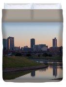 Fort Worth Skyline At Sunset Duvet Cover