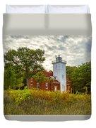 Forty Mile Point Lighthouse Lake Huron Lower Peninsilat Mi  Duvet Cover