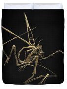 Fossil Record - Gold Pterodactyl Fossil On Black Canvas #1 Duvet Cover