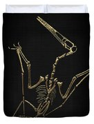 Fossil Record - Gold Pterodactyl Fossil On Black Canvas #4 Duvet Cover