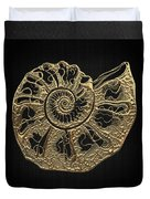 Fossil Record - Golden Ammonite Fossil On Square Black Canvas #4 Duvet Cover
