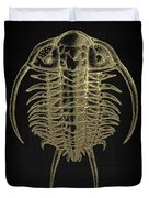 Fossil Record - Golden Trilobite On Black No.2 Duvet Cover
