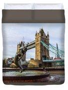 Fountain And Bridge Duvet Cover