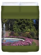 Fountain And Mums Duvet Cover